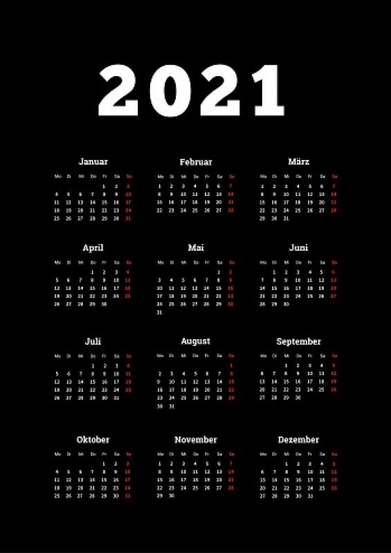 Calendário 2021 Folha A4 Zona Leste - Calendário Folha A4