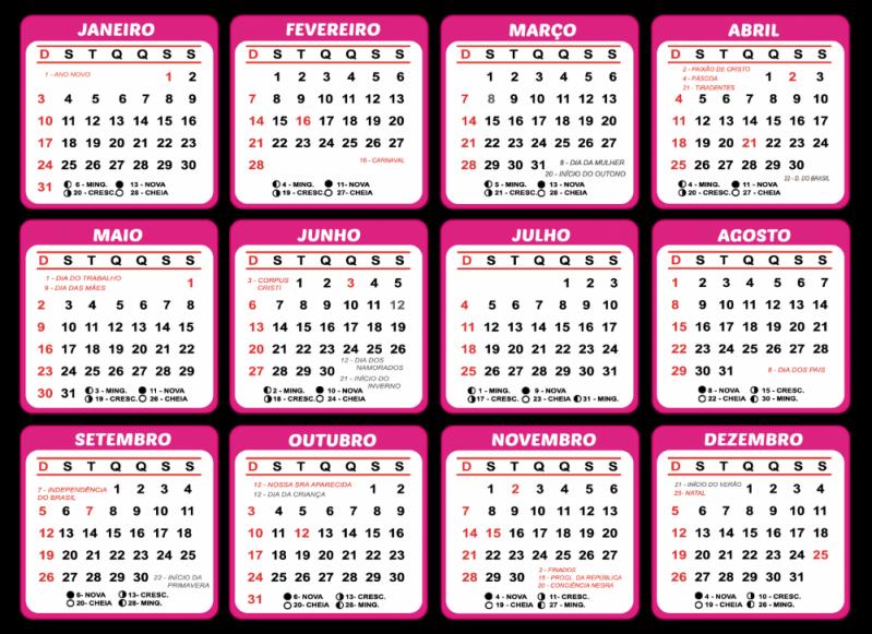Calendário Folha A4 2021
